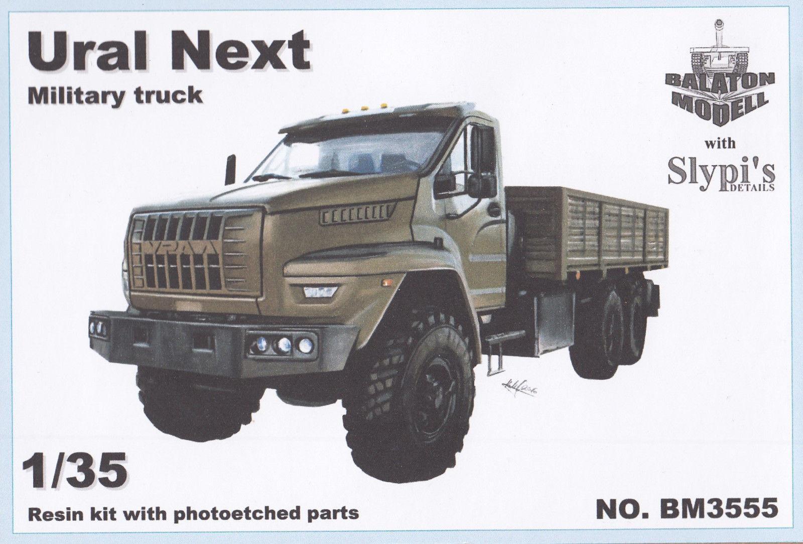 Сборная масштабная модель 1:35 Военный бортовой грузовик 6х6 Ural Next 4320, длиннобазный, 4755 мм (Balaton)
